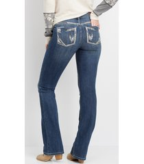 maurices womens denimflex™ dark wash embellished pocket bootcut jeans blue