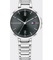tommy hilfiger women's sugar black dial dress watch silver/ black -