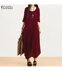 zanzea mujeres retro textura asimétrico vestido largo maxi vestidos camiseros fold -rojo