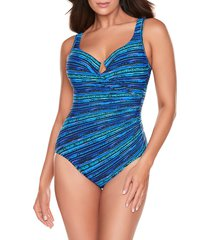 miraclesuit women's secret sanskrit escape one-piece swimsuit - blue - size 12