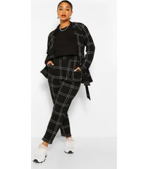 plus flannel blazer and trouser co-ord, black