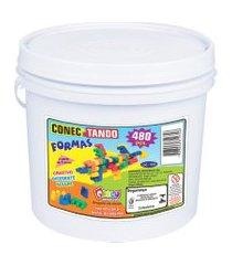 jogo conectando formas carlu blocos de montar 480 peças colorido