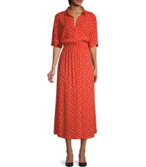 bb dakota women's florally introduced midi dress - clementine - size m