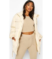 tall belted padded coat, cream