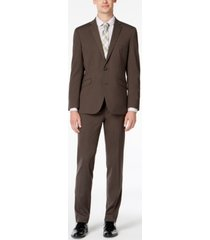 kenneth cole reaction men's big & tall slim-fit ready flex stretch medium brown solid suit