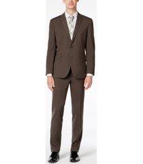 kenneth cole reaction men's slim-fit ready flex stretch medium brown solid suit