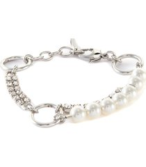 'glam riot' crystal pearl chain bracelet