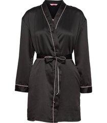 kimono hammered satin bow morgonrock svart hunkemöller