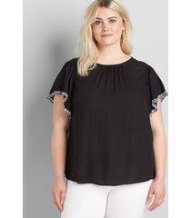 lane bryant women's embroidered flutter-sleeve top 12 black