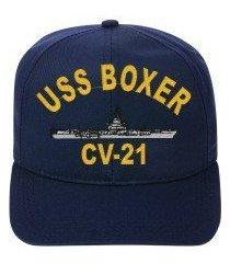 uss boxer cv-21 embroidered ship cap