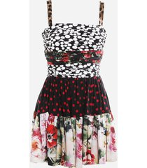 dolce & gabbana silk mini dress with all-over patchwork print