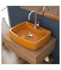 cuba de apoio para banheiro compace aria rt50w retangular amarela
