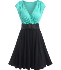cap sleeve bicolor belted surplice dress