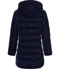 doorgestikte jas in iets langer model met capuchon van green goose blauw