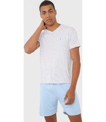 pijama malwee liberta logo cinza/azul - cinza - masculino - viscose - dafiti