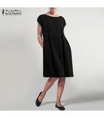 zanzea mujeres manga corta cuello redondo camiseta del verano mini vestido vestido de tirantes -negro