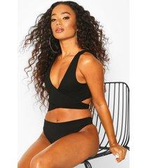 petite geribbelde bikini top met strikjes, zwart