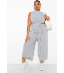 plus rib high neck culotte jumpsuit, grey