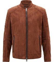 boss men's slim-fit suede leather biker jacket