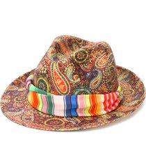 etro chapéu panama com estampa paisley - vermelho