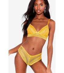 womens lace get down to business bralette and panty set - mustard
