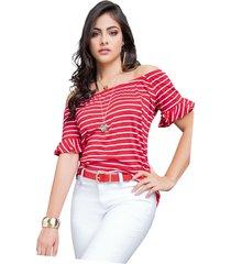 blusa para mujer rayas blancas con base en rojo mp
