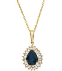 """emerald (3/4 ct. t.w.) & diamond (1/4 ct. t.w.) 16"""" pendant necklace in 14k gold (also available in certified ruby & sapphire)"""