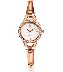 soxy donna orologio semplice di lusso in lega con strass rossato d'oro