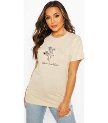 petite 'you matter' flower slogan t-shirt, stone