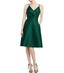 women's alfred sung fit & flare satin twill cocktail dress, size 14 - green