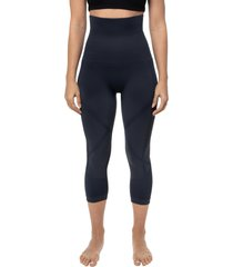 women's belly bandit mother tucker active compression capri leggings, size small - blue