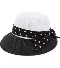 marcus adler women's colorblock cloche sun hat - black ivory