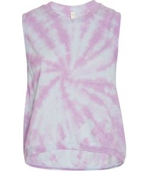 free people women's tie dye love yoga tank top - aurora blue combo x-small cotton