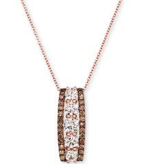 "le vian chocolate diamond (1/2 ct. t.w.) & nude diamond (1-1/2 ct. t.w.) vertical bar 18"" pendant necklace in 14k rose gold"
