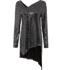 maglia glitterata asimmetrica (nero) - bodyflirt