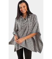 hanna lace up hooded poncho - taupe