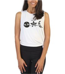 american fitness couture stars and moon side tie studio tank top