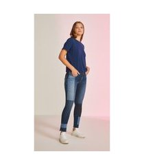 t-shirt leboh decote redondo abertura lateral azul