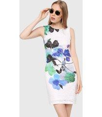 vestido blanco-azul-verde-negro desigual