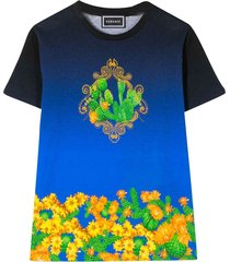 young versace blue teen t-shirt with multicolor press