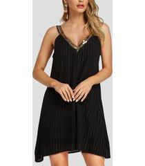 vestido de fiesta con cuello en v adornado con lentejuelas sin espalda negro