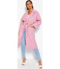 nepwollen wikkel jas met ceintuur, blush