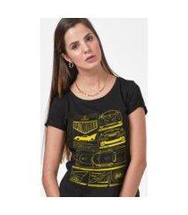 camiseta batman batmóvel blueprint feminina