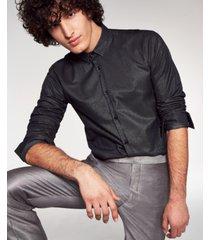 hugo boss men's slim-fit metallic shirt