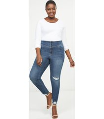 lane bryant women's high-rise 3-button jegging - dark wash with destruction 20 dark denim