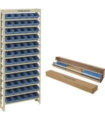 kit estante presto 60/3 com 60 gavetas, azul - 6103a