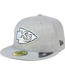 new era kansas city chiefs heather black white 59fifty fitted cap