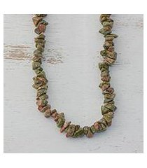 unakite long beaded necklace, 'rosy sage' (brazil)