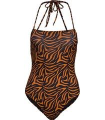 straight neckline swimsuit baddräkt badkläder brun ivyrevel