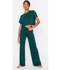 womens tee be continued tee and pants pajama set - emerald